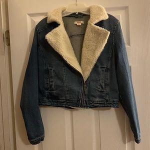 Faux white fur lined jean jacket